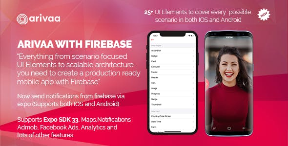 Arivaa Built with Firebase (React Native and Expo 33)