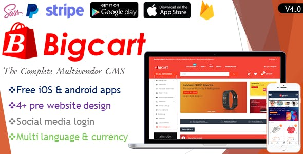 Bigcart  - Ecommerce Multivendor System with iOS & Android Apps