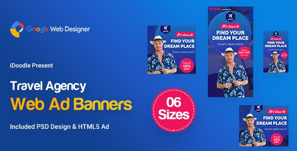C72 - Travel Agency Banners Ad GWD & PSD
