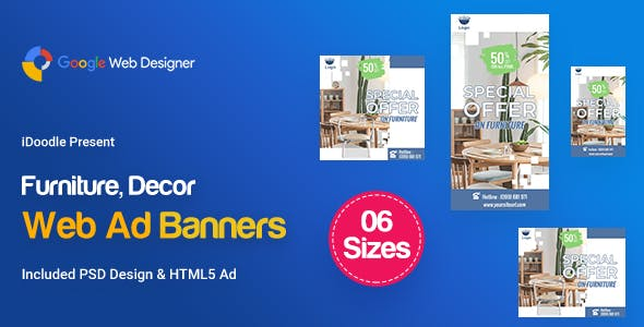 C73 - Furniture, Decor Banners Ad GWD & PSD