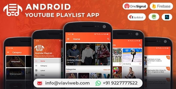 Android YouTube PlayList App (Youtubers, YT PlayLists, YT Videos) with Admob Ads - CodeCanyon Item for Sale