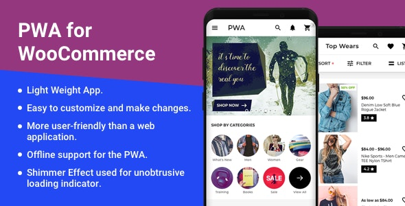 Progressive Web App ( PWA ) for WooCommerce - CodeCanyon Item for Sale