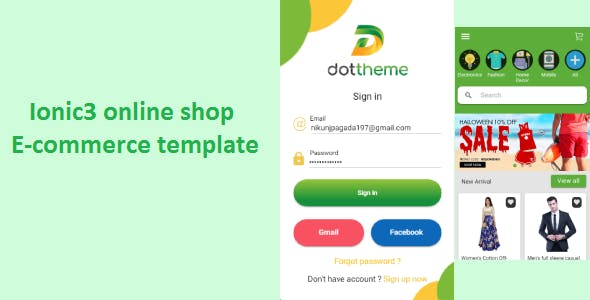 Ionic 3 online shop eCommerce  template