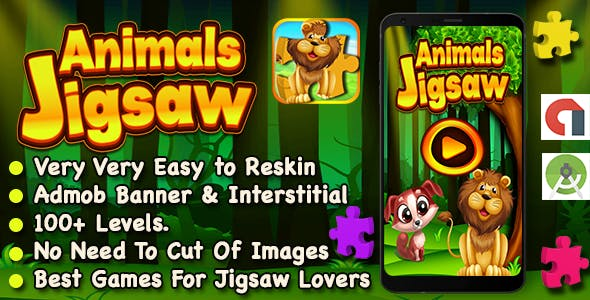 Animal Jigsaw Puzzle Game For Kids + Ready For Publish + Android