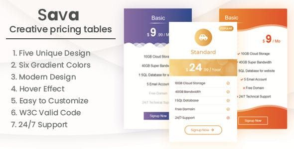 Sava - Creative pricing tables - CodeCanyon Item for Sale