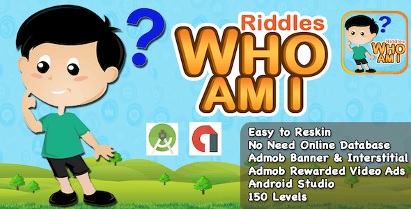 Riddle Who Am I + Best Kids Quiz App + Ready For Publish + Android