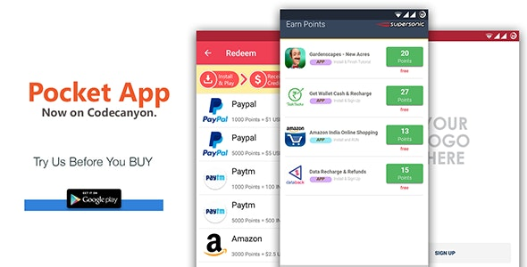 Android Rewards App - POCKET by DroidOXY | CodeCanyon
