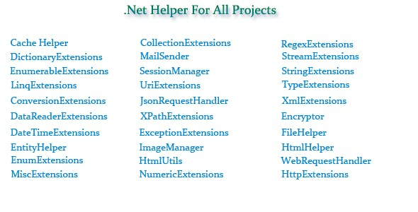 C#.Net Helper For All Projects