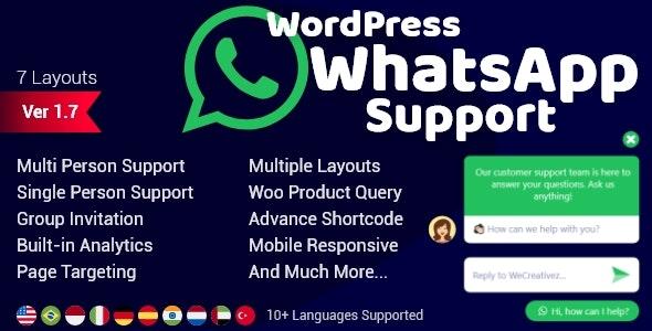 WordPress WhatsApp Support by wecreativez | CodeCanyon