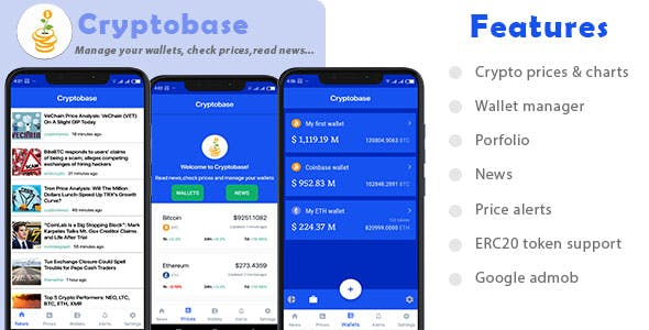 Cryptobase -Manage your cryptocurrency wallets,Price chart,News,Market cap,ERC20 token support,Admob