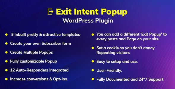 Exit Intent Popup WordPress Plugin - CodeCanyon Item for Sale
