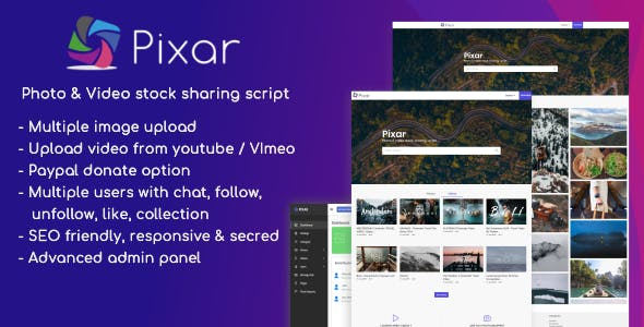 Pixar - Photo & Video Stock Sharing Script