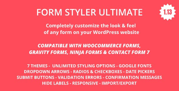 Form Styler Ultimate | Compatible with WooCommerce, Gravity Forms, Ninja Forms & CF7(Contact Form 7)