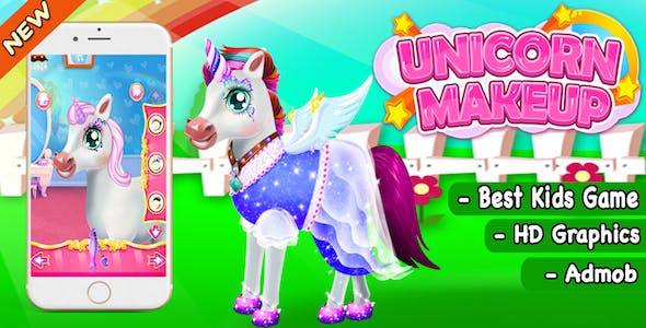 Unicorn Make Up And Salon Game For Kids + Ready For Publish + Admob