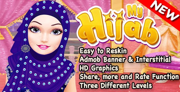 Hijab Spa Salon and Makeover Game For Kids + Admob + Ready For Publish