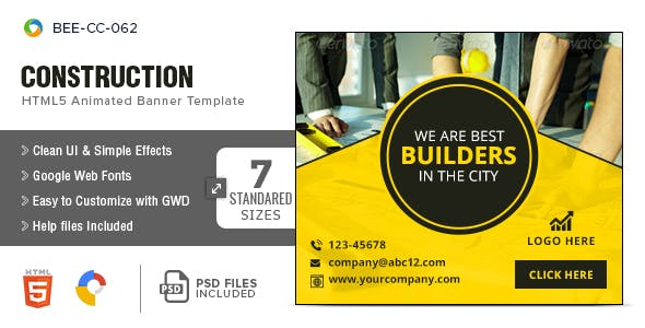 Construction HTML5 Banners - 7 Sizes