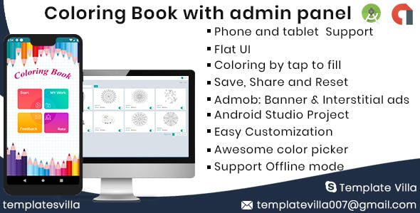 Coloring Book Android with Admin panel & Admob ready for publish