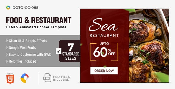 Food and Restaurant HTML5 Banners- 7 Sizes