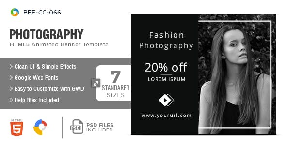 Photography HTML5 Banners - 7 Sizes - CodeCanyon Item for Sale