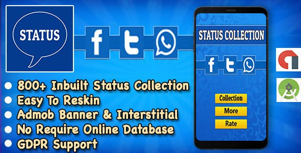 Status App + Best Status Collection For WhatsApp + Instagram + Facebook + Twitter + Android Studio