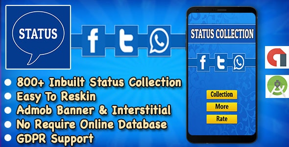 Status App + Best Status Collection For WhatsApp + Instagram + Facebook + Twitter + Android Studio - CodeCanyon Item for Sale