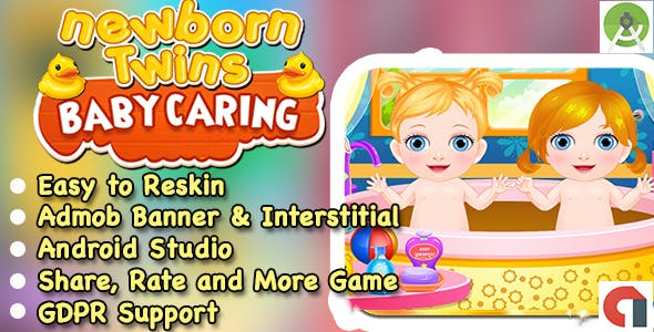 New Born Twins Baby Caring Game + Admob + Ready For Publish + Android Studio