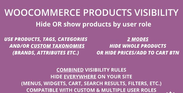 WooCommerce Products Visibility | Hide Products, Categories, Tags, Taxonomies & Prices by User Role