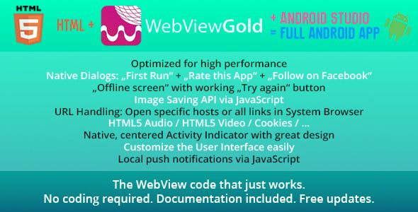 WebViewGold for Android – WebView URL/HTML to Android app + Push, URL Handling, APIs & much more!Web