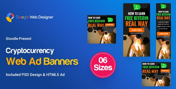 C77 - Cryptocurrency Banners HTML5 Ad (GWD & PSD)