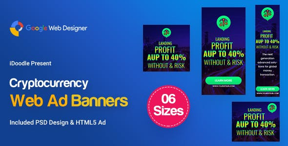 C78 - Cryptocurrency Banners HTML5 Ad (GWD & PSD)
