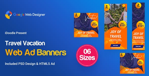 C81 - Travel Vacation Banners HTML5 Ad (GWD & PSD)