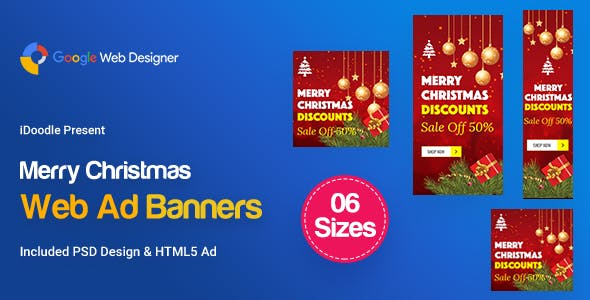 C82 - Merry Christmas Banners HTML5 Ad (GWD & PSD)