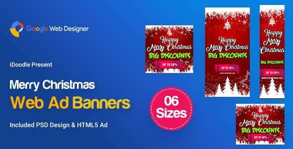 C83-Merry Christmas Banners HTML5 Ad (GWD & PSD)