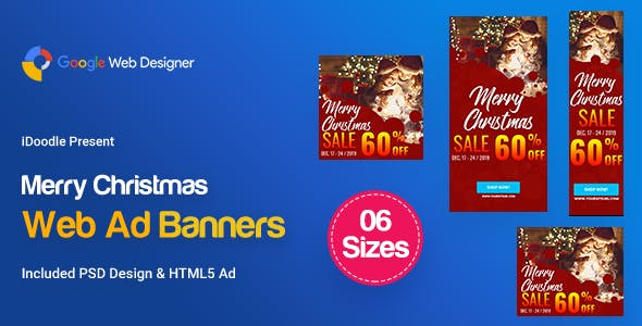C84-Merry Christmas Banners HTML5 Ad (GWD & PSD)