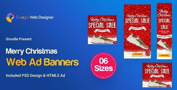 C85-Merry Christmas Banners HTML5 Ad (GWD & PSD)