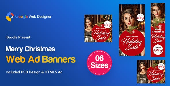 L01-Merry Christmas Banners HTML5 Ad (GWD & PSD)