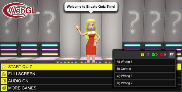 3D Quiz Girl - WebGL Game