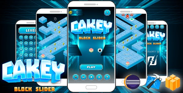 CAKEY : Block Slider Android iOS Buildbox With Admob Interstitial Ads IAP Remove Ads Hourly Bonus