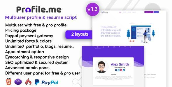 Profile.me - Multiuser Profile & Resume Script