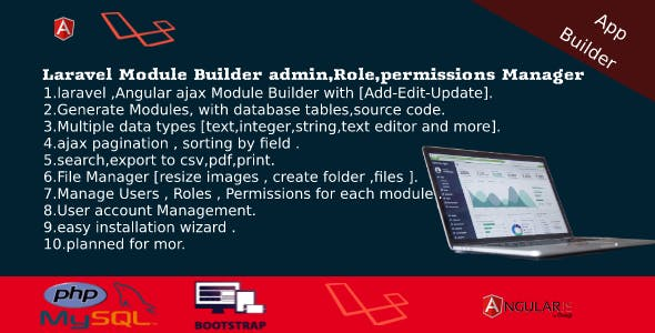 Laravel Admin Builder - Angular CRUD+Users,Roles,Permission +Files Manager