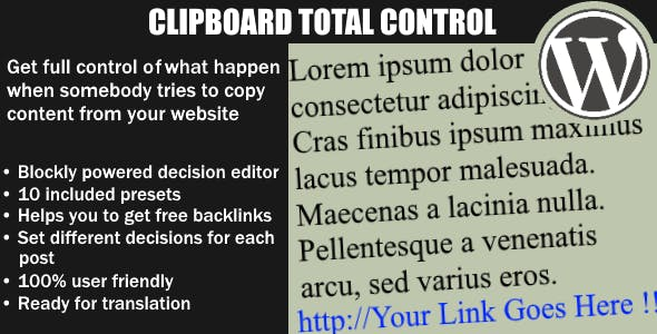 Clipboard Total Control - Control what happen when somebody copy your text - WordPess Plugin