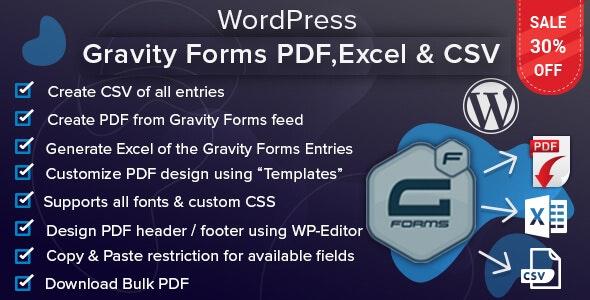 WordPress Gravity Forms PDF, Excel & CSV - CodeCanyon Item for Sale