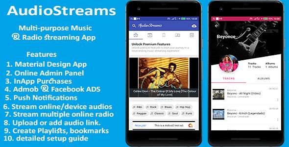 AudioStreams - Multi-purpose Music & Radio Streaming app  by