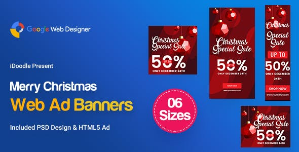 C86 - Merry Christmas Banners HTML5 (GWD & PSD)