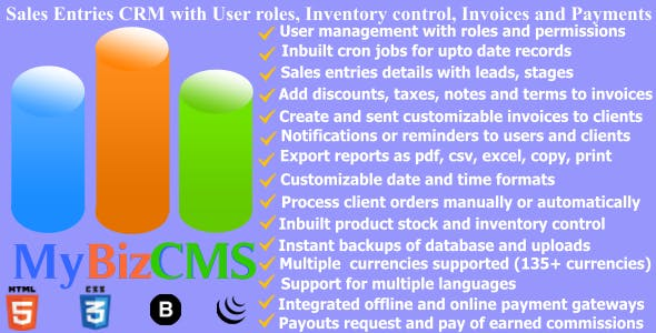 MyBizCMS : Sales Entries CRM with User roles, Inventory control, Invoices and Payments