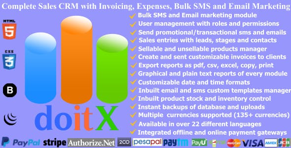 doitX : Complete Sales CRM with Invoicing, Expenses, Bulk SMS and Email Marketing