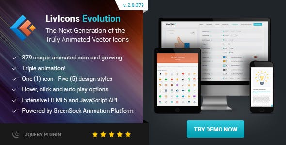 LivIcons Evolution for jQuery - The Next Generation of the Truly Animated Vector Icons