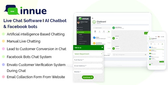 Innue - Live Chat Software | AI Chatbot and Facebook bots (Node JS & PHP Based) - CodeCanyon Item for Sale