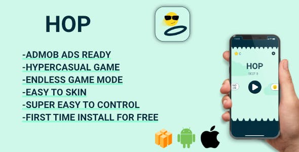 HOP - Hyper-casual game (Android Studio +Admob) Easy Reskin
