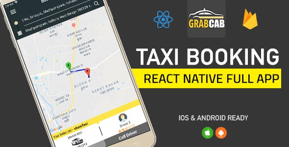 GrabCab React Native Taxi Booking Full App